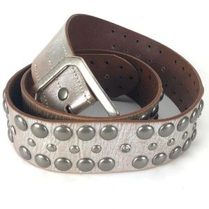 Linea Pelle Large Studded Silver Gray Leather Belt